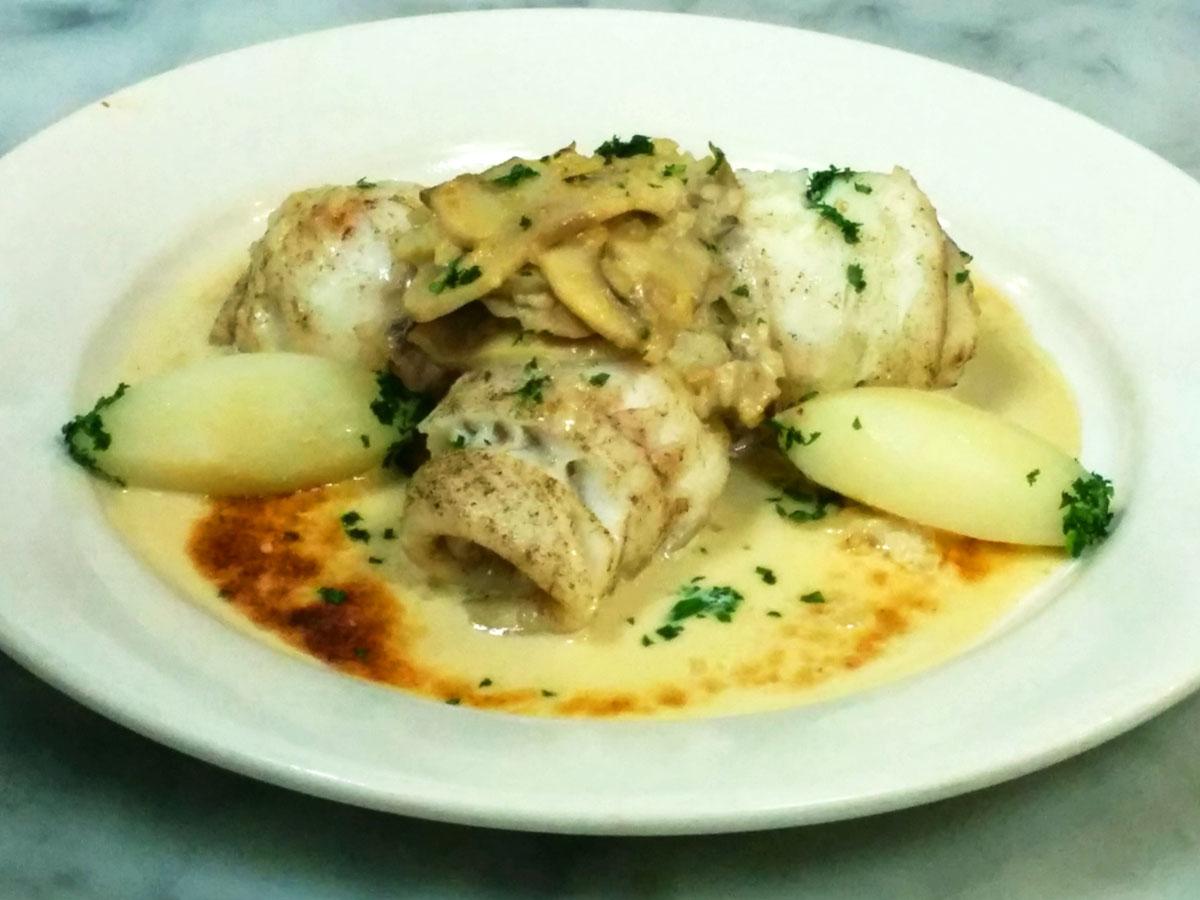 Fish with Mushroom, Shallot & Cream Sauce