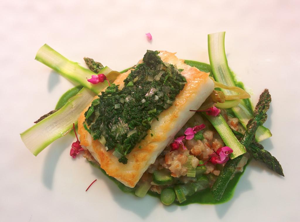 Gramercy Tavern Flounder, Asparagus, Freekah, Lardo