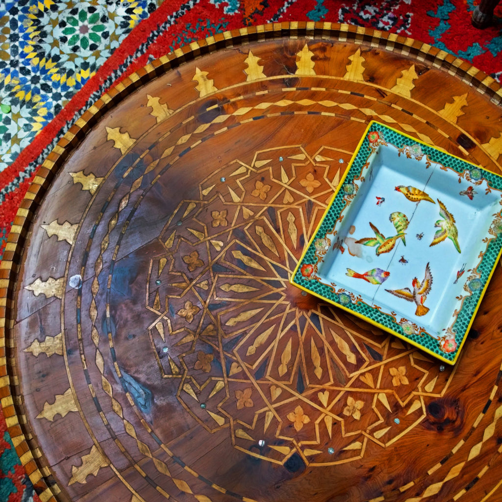 Bird ashtray and coffee table at Riad Al Bartal, Fes