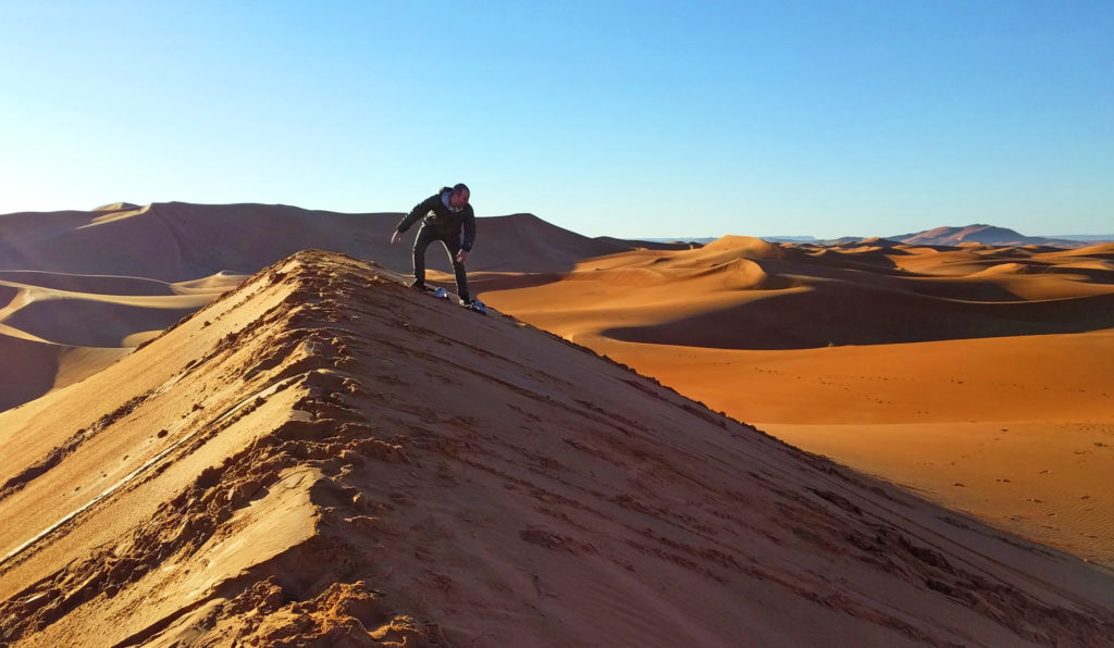 Sandboarding on a Sahara dune