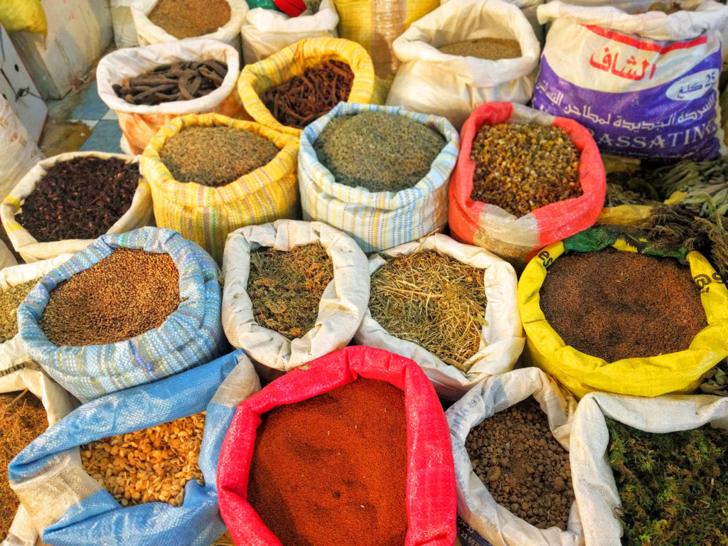 Bags of spices in Morocco