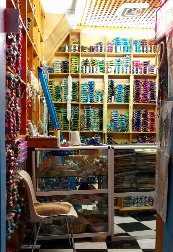 A tiny fabric shop in the Chefchaouen medina