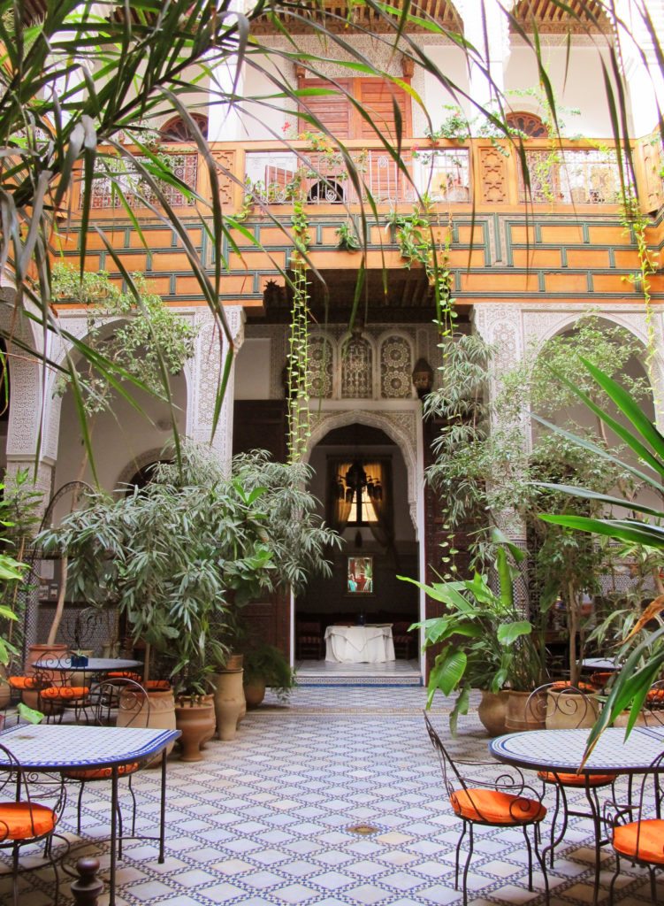 Traditional tiled courtyard in a Moroccan riad
